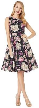 Unique Vintage 1940s Floral Olson Swing Dress (Black Floral) Women's Dress