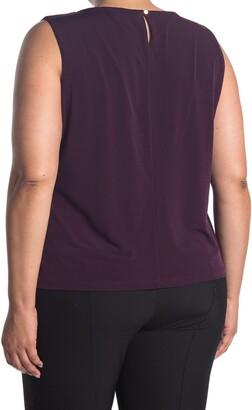 Calvin Klein Solid Pleated Sleeveless Top