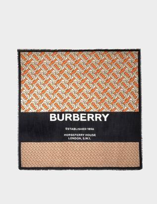 Burberry TB Horseferry Text Square in Bright Orange Cachemire