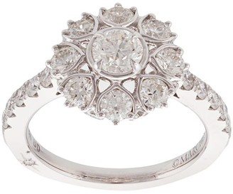 Marchesa 18kt White Gold Diamond Floral Engagement Ring