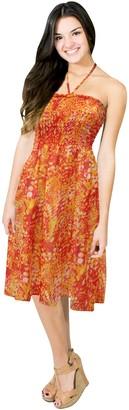 LA LEELA Dress Beach wear Cover up Halter Neck Short Tube Maxi Swimsuit Swimwear Pumpkin Orange
