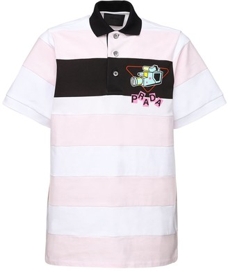 Prada Logo Print Long Striped Polo Shirt
