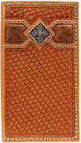 Ariat Light Tan Rodeo Diamond Weave Leather Wallet