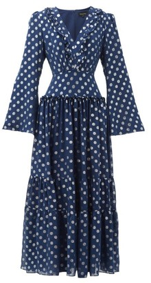 Saloni Devon Polka-dot Jacquard Silk-blend Dress - Navy Silver