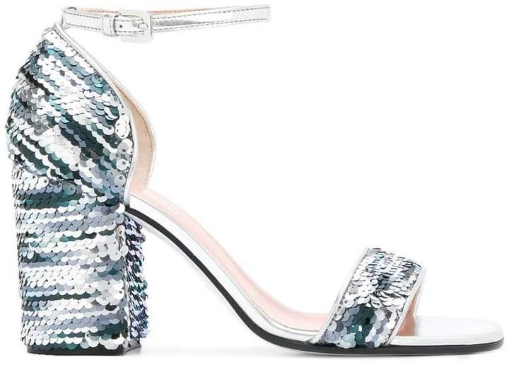 Pollini sequin chunky heel sandals