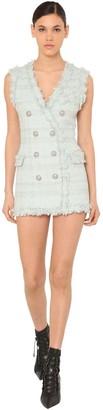 Balmain Fringed Double Breast Tweed Mini Dress