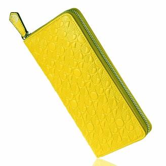 Luxury English Leather Ladies 12 Card Zip Around Purse & Wallet In Lemon & Lime
