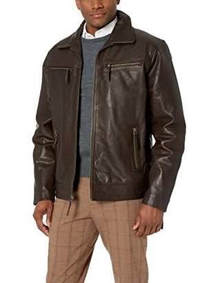 LN LUCIANO NATAZZI Men's Full Grain Cow Leather Zipper Jacket