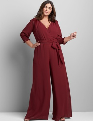 Lane Bryant Crossover 3/4-Sleeve Chiffon Jumpsuit