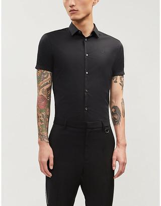 Emporio Armani Slim-fit cotton-blend short sleeves shirt