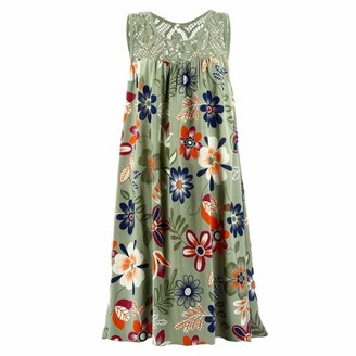 KPILP Ladies Dress Floral Print Round Neck Lace Summer Mini Dress Womens Beach Boho Fashion Casual Loose fit Dress(Green 22 UK / 5XL CN)