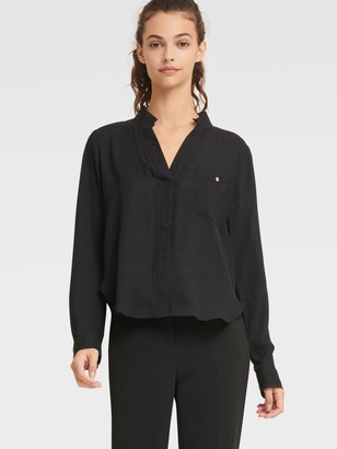 DKNY Women's V-neck Blouse With Eyelet Trim - Black - Size L