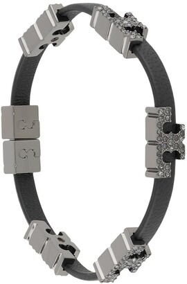 Tory Burch Crystal-Embellished Logo Plaque Bracelet