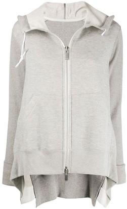 Sacai zip-up draped detail hoodie