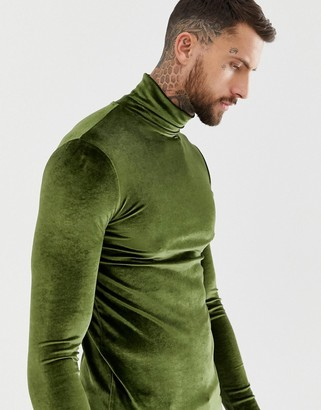 Asos Design DESIGN muscle long sleeve t-shirt with stretch in velour with roll neck in khaki-Green