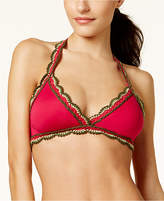 Becca Medina Crochet-Trim Halter Bikini Top Women's Swimsuit