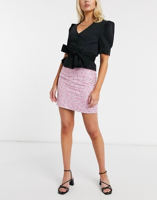 And other stories & linen floral print mini skirt in pink