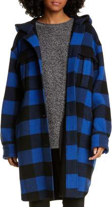 Rag & Bone Beck Buffalo Check Hooded Wool Blend Coat