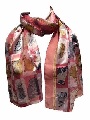 Pamper Yourself Now Ladies Shiny cat Scarf with a Square Design and Multi Coloured Cats. Great Present for Any cat Lovers. (Black)