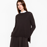 Paul Smith Women's Oversized Black Wool Sweater With 'Cycle Stripe' Cuffs