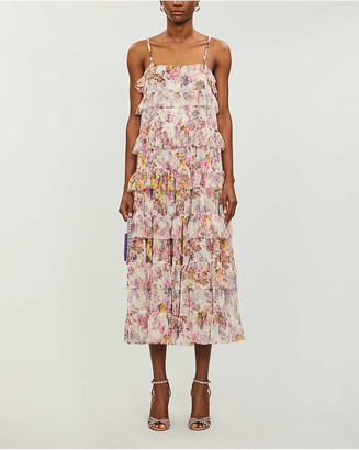 Needle And Thread Needle & Thread x Jasmine Hemsley Harmony floral-print recycled tulle midi dress