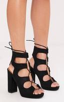 PrettyLittleThing Carlia Black Platform Gladiator Heels