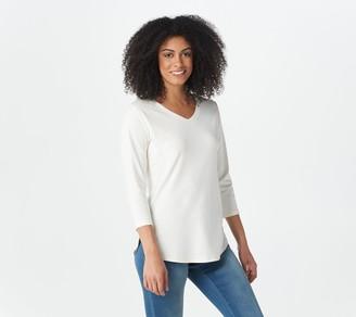 Isaac Mizrahi Live! Essentials Pima Cotton Curved Hem Top