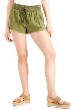 Thumbnail for your product : Rewash Juniors' Smocked-Waist Frayed-Hem Shorts