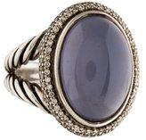 David Yurman Chalcedony & Diamond Oval Cocktail Ring
