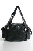 Gustto Black Gold Tone Metal Detail Leather Satchel Handbag