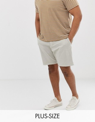 French Connection Plus slim fit peached cotton chino shorts-Grey