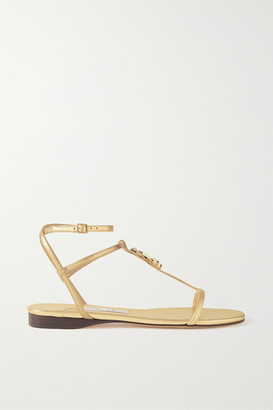 Jimmy Choo Alodie Logo-embellished Metallic Leather Sandals - Gold