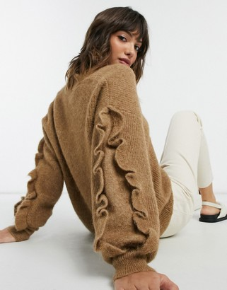Selected v-neck jumper with ruffle sleeve in brown