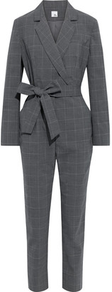 Iris & Ink Imogen Belted Checked Cady Jumpsuit