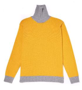 Country Of Origin Country of Origin - Yellow & Grey Contrast Turtleneck Sweater - LARGE - Yellow/Grey