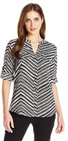 Calvin Klein Women's Roll Sleeve Blouse with Print