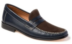 Sandro Moscoloni Whip Stitch Moc Toe Penny Strap Slip-On Men's Shoes