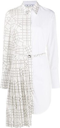 Off-White Panelled Logo-Grid Shirt Dress