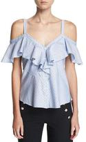 Veronica Beard Grant Off-Shoulder Ruffle Top, Blue/White