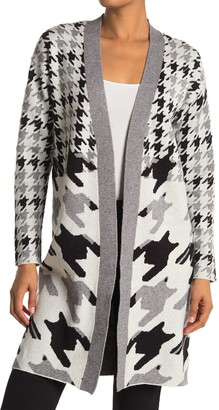 Joseph A Open Front Houndstooth Print Maxi Cardigan