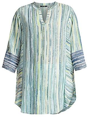 NIC+ZOE, Plus Size Awakening Striped Tunic Top
