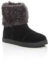 Toms Girls' Nepal Metallic Faux Fur Booties - Baby, Walker