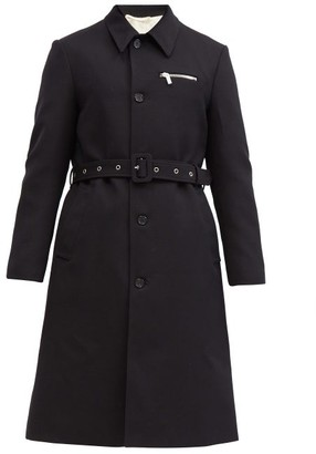Raf Simons Single-breasted Belted Virgin-wool Trench Coat - Navy