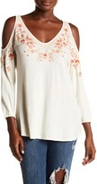 Lucky Brand Embroidered Cold Shoulder Shirt