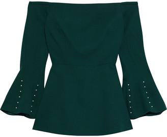 Lela Rose Off-the-shoulder Faux Pearl-embellished Wool-crepe Top