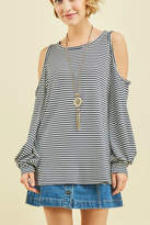 Entro Striped Cold-Shoulder Top