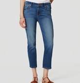 LOFT Frayed Straight Crop Jeans in Medium Bleach Wash