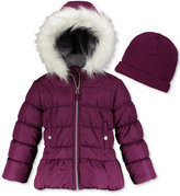 Weathertamer Hooded Puffer Coat With Faux-Fur Trim & Hat, Big Girls (7-16)