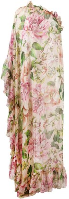 Dolce & Gabbana silk rose print single-sleeve dress