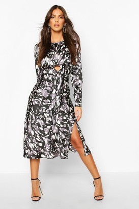 boohoo Leopard Print Tie Detail Satin Midi Dress